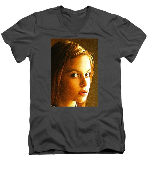 Men's V-Neck T-Shirt featuring the painting Girl Sans by Richard Thomas
