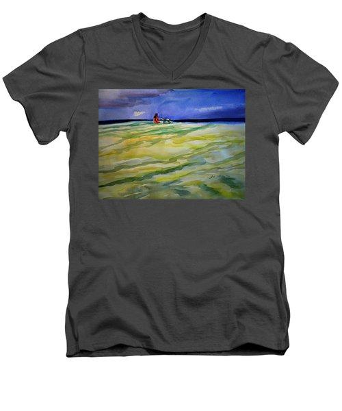 Girl With Dog On The Beach Men's V-Neck T-Shirt