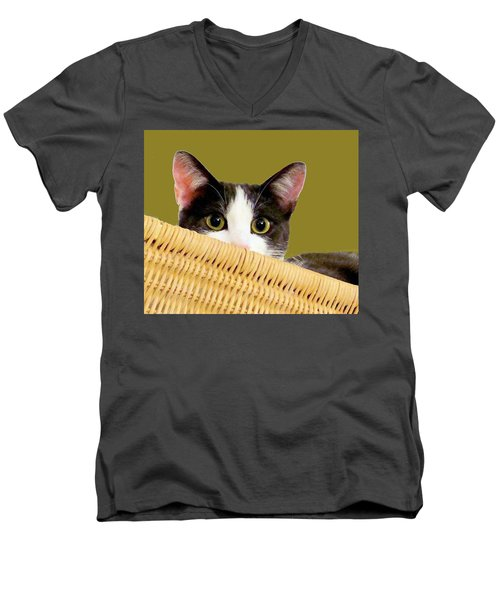 Men's V-Neck T-Shirt featuring the photograph Girlie Cat  by Janette Boyd