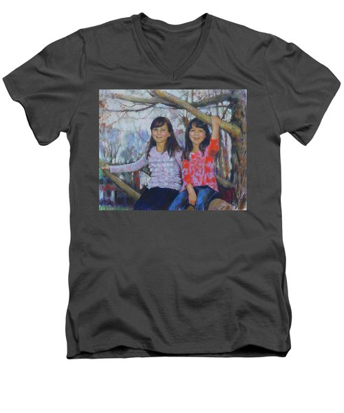 Men's V-Neck T-Shirt featuring the drawing Girls Upon The Tree by Viola El