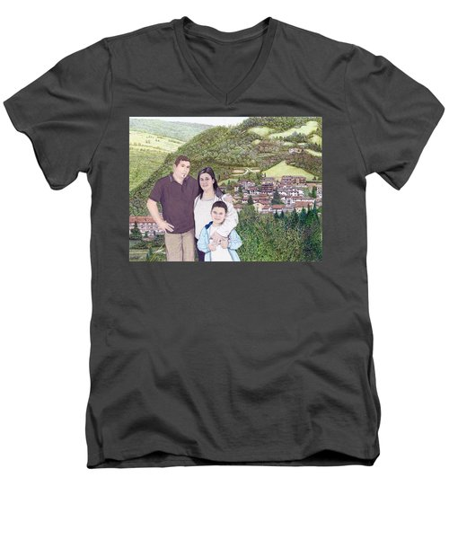 Men's V-Neck T-Shirt featuring the painting Giusy Mirko And Simone In Valle Castellana by Albert Puskaric