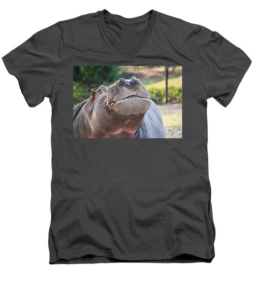 Men's V-Neck T-Shirt featuring the photograph Give Me A Kiss Hippo by Eti Reid