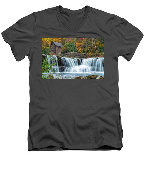 Glade Creek Grist Mill And Waterfalls Men's V-Neck T-Shirt