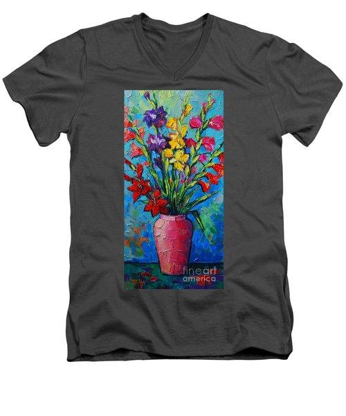 Gladioli In A Vase Men's V-Neck T-Shirt
