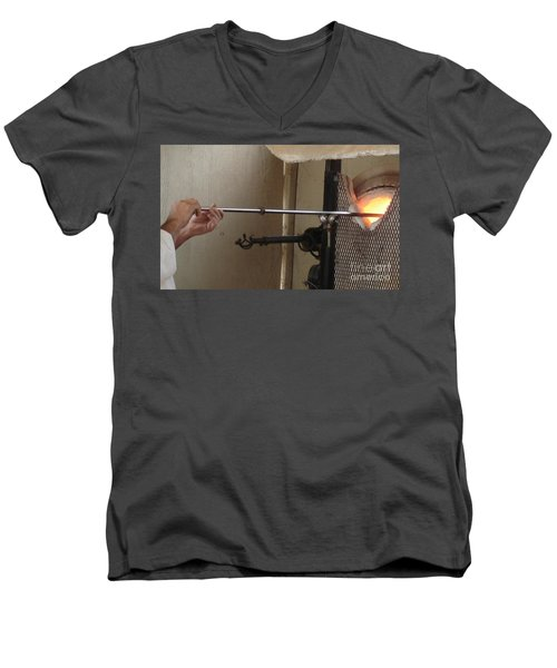 Men's V-Neck T-Shirt featuring the photograph Glass Artisan Hands by Kerri Mortenson