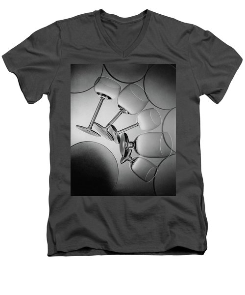 Glassware Layed Out On A Glass Table Men's V-Neck T-Shirt