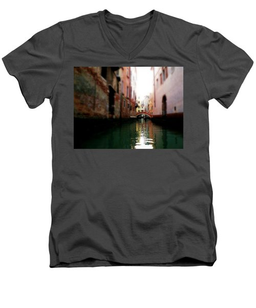 Men's V-Neck T-Shirt featuring the photograph Gliding Along The Canal  by Micki Findlay