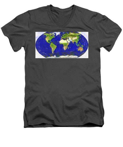 Global Map Painting Men's V-Neck T-Shirt by Georgi Dimitrov