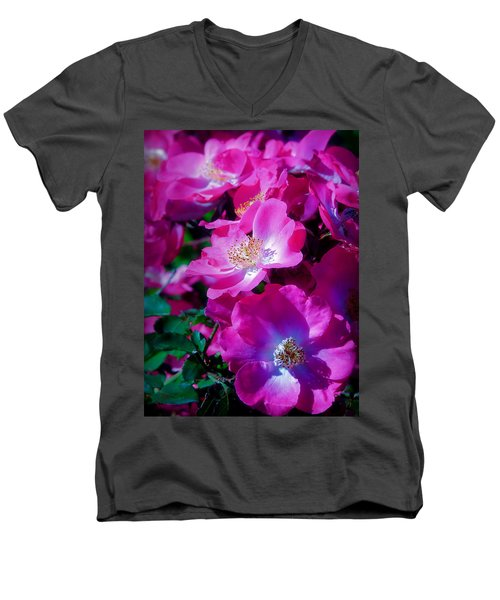 Glorious Blooms Men's V-Neck T-Shirt by Lucinda Walter