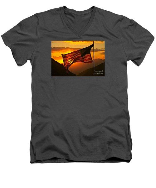 Glory At Sunset Men's V-Neck T-Shirt by Michael Cinnamond