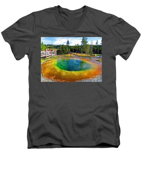 Glory Pool Yellowstone National Park Men's V-Neck T-Shirt
