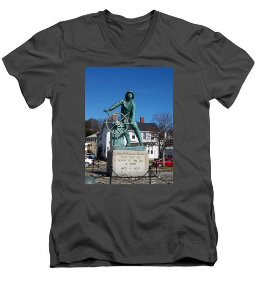 Gloucester Fisherman Men's V-Neck T-Shirt by Catherine Gagne