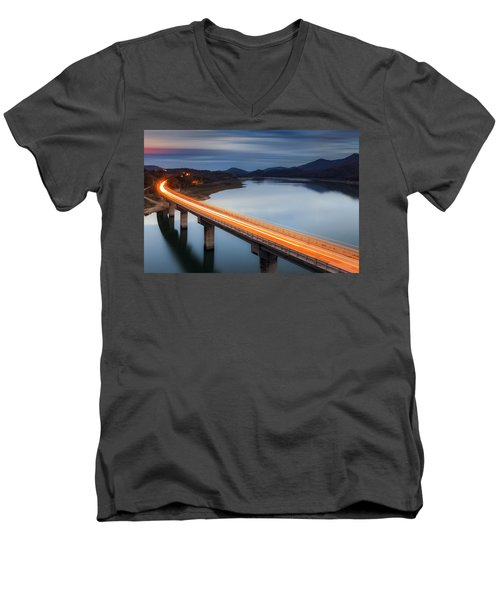 Glowing Bridge Men's V-Neck T-Shirt