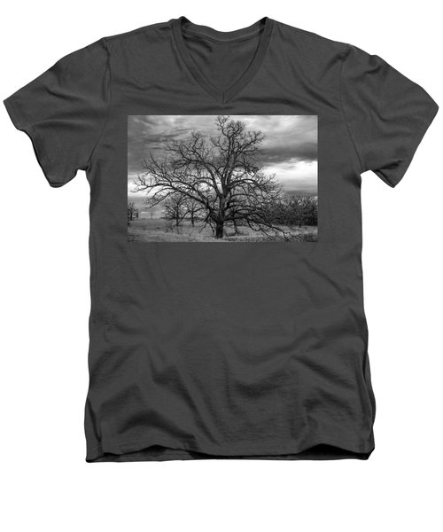 Men's V-Neck T-Shirt featuring the photograph Gnarly Tree by Sennie Pierson