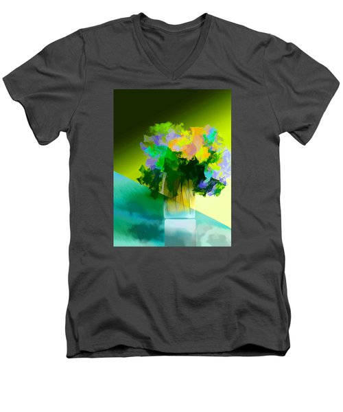Men's V-Neck T-Shirt featuring the digital art Go Fleur by Frank Bright