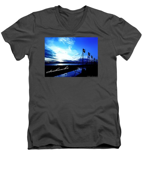 Men's V-Neck T-Shirt featuring the photograph Go Seahawks by Eddie Eastwood