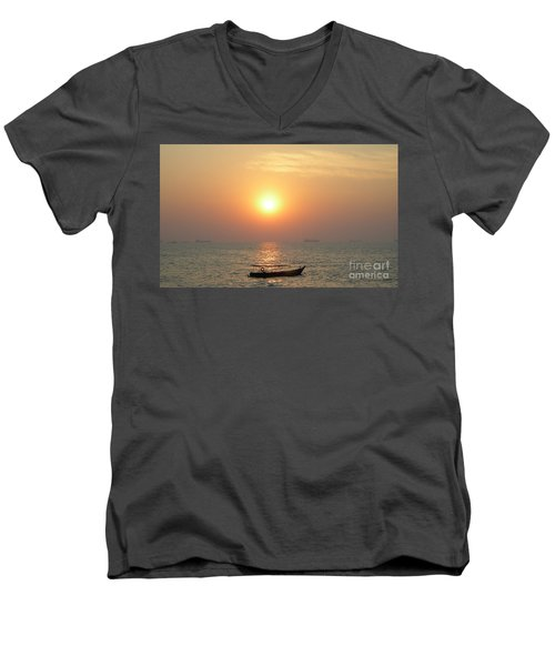 Goa Sunset Men's V-Neck T-Shirt by Mini Arora