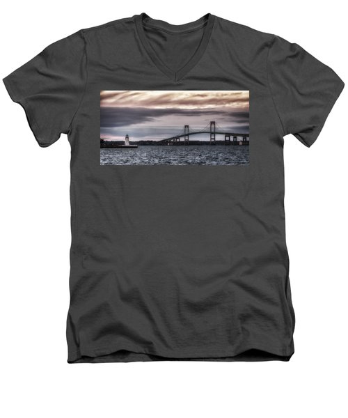 Goat Island Lighthouse And Newport Bridge Men's V-Neck T-Shirt