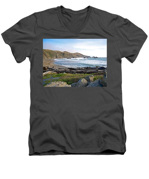 Goat Rock State Beach On The Pacific Ocean Near Outlet Of Russian River-ca  Men's V-Neck T-Shirt