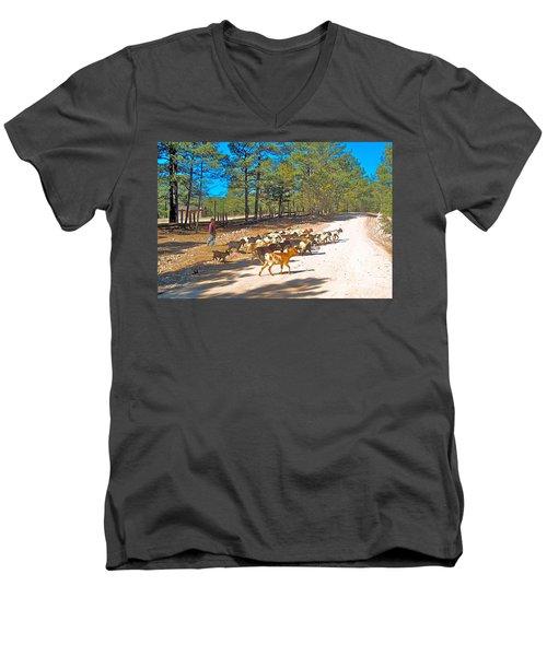 Goats Cross The Road With Tarahumara Boy As Goatherd-chihuahua Men's V-Neck T-Shirt