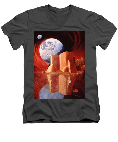 Men's V-Neck T-Shirt featuring the painting God Is In The Moon by Art James West