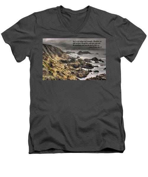 God - Our Refuge And Strength Though The Mountains Fall Into The Sea - From Psalm 46.1-2 - Big Sur Men's V-Neck T-Shirt by Michael Mazaika