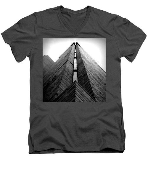 Goddard Stair Tower - Black And White Men's V-Neck T-Shirt by Joseph Skompski
