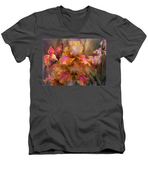 Men's V-Neck T-Shirt featuring the mixed media Goddess Of Sunrise by Carol Cavalaris