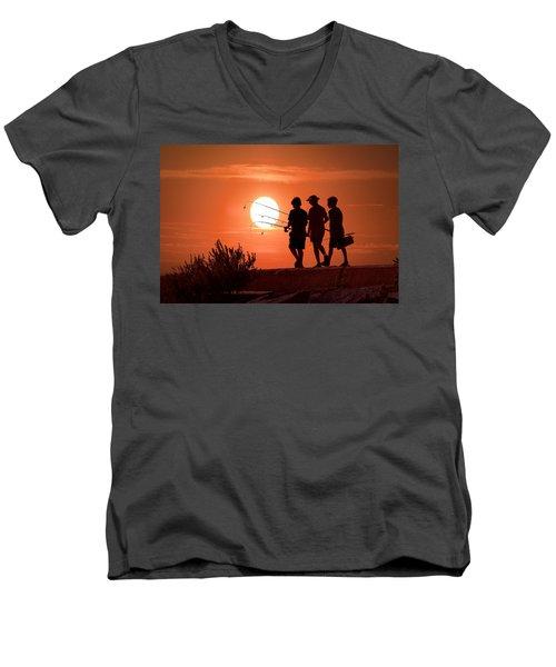 Going Fishing Men's V-Neck T-Shirt by Randall Nyhof