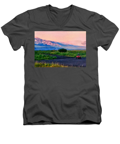 Going To School Cold Bay Style Men's V-Neck T-Shirt by Michael Pickett