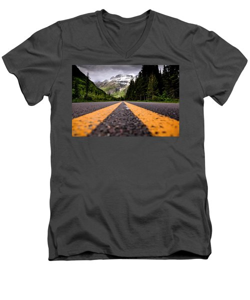 Going To The Sun Men's V-Neck T-Shirt by Aaron Aldrich