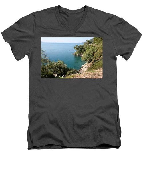 Men's V-Neck T-Shirt featuring the photograph Gokova Korfezi Akyaka by Tracey Harrington-Simpson