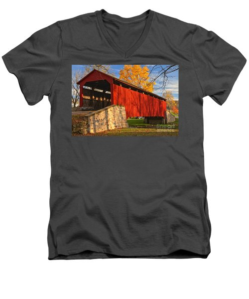 Gold Above The Poole Forge Covered Bridge Men's V-Neck T-Shirt