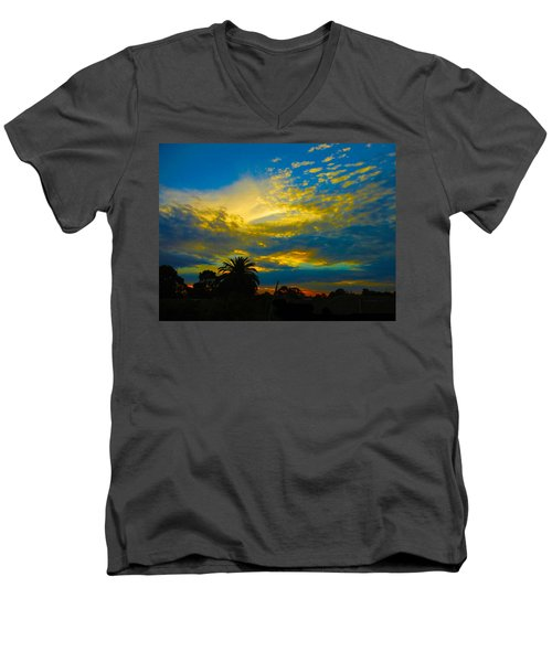 Gold And Blue Sunset Men's V-Neck T-Shirt by Mark Blauhoefer