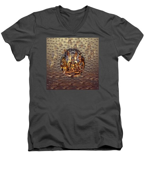 Gold Buddha Men's V-Neck T-Shirt