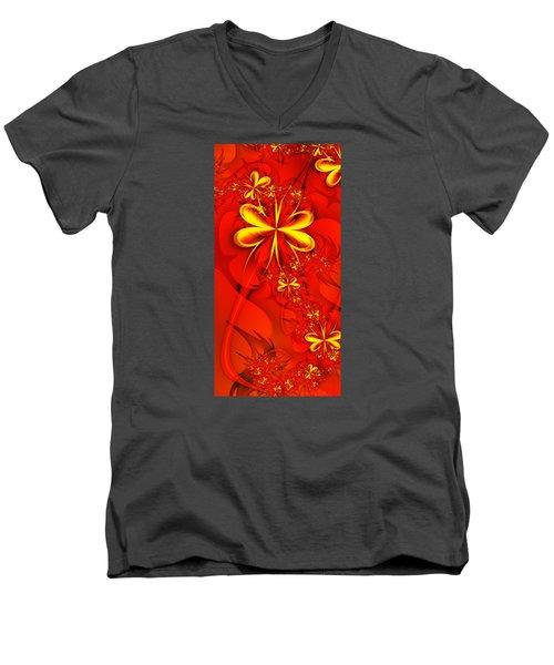 Gold Flowers Men's V-Neck T-Shirt by Lena Auxier