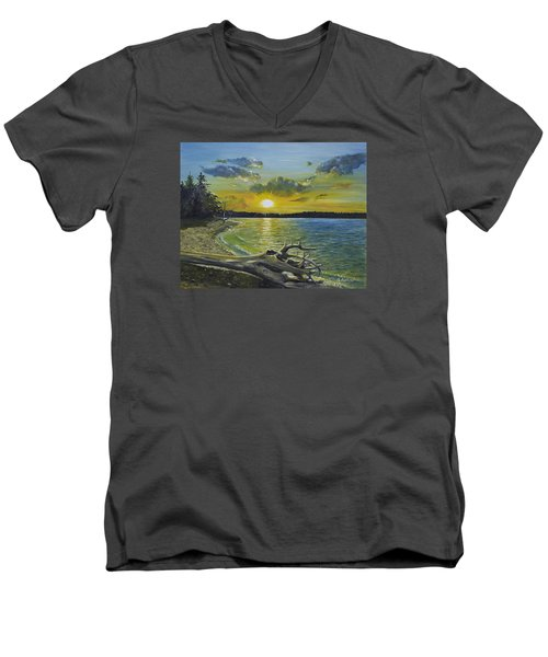 Golden Afternoon At Ketron Island Men's V-Neck T-Shirt