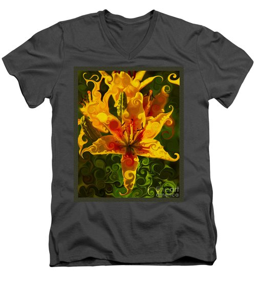 Men's V-Neck T-Shirt featuring the painting Golden Beauties by Omaste Witkowski