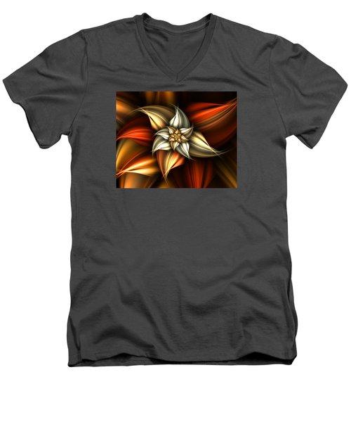 Men's V-Neck T-Shirt featuring the digital art Golden Beauty by Ester  Rogers