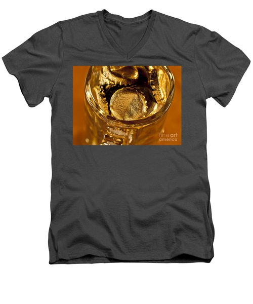 Men's V-Neck T-Shirt featuring the photograph Golden Beer  Mug  by Wilma  Birdwell