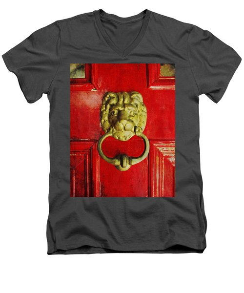 Golden Brass Lion On Red Door Men's V-Neck T-Shirt by Brooke T Ryan