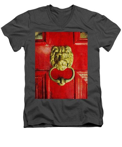 Golden Brass Lion On Red Door Men's V-Neck T-Shirt