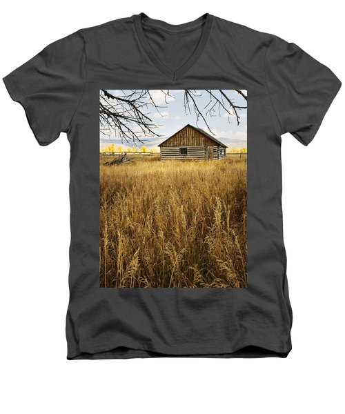 Golden Cabin Men's V-Neck T-Shirt by Sonya Lang