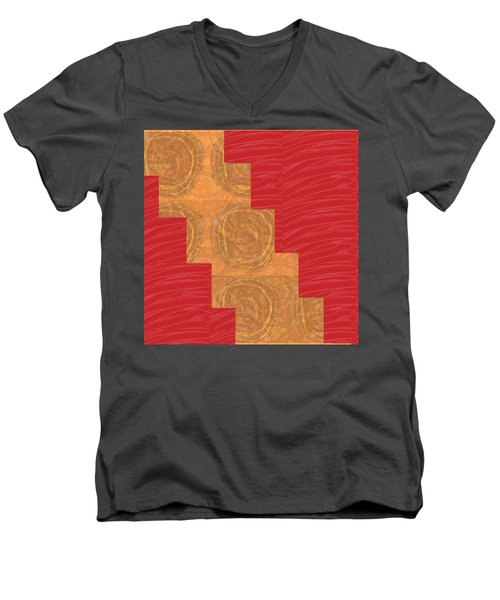 Men's V-Neck T-Shirt featuring the photograph Golden Circles Red Sparkle  by Navin Joshi