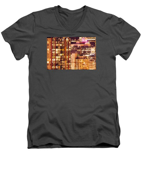 Men's V-Neck T-Shirt featuring the photograph City Of Vancouver - Golden City Of Lights Cdlxxxvii by Amyn Nasser