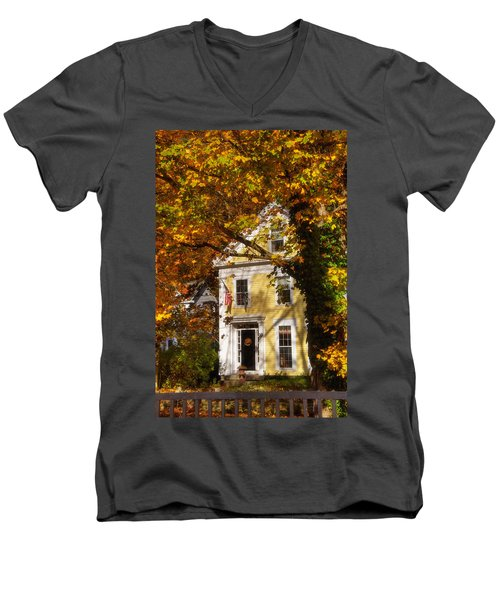 Golden Colonial Men's V-Neck T-Shirt by Joann Vitali