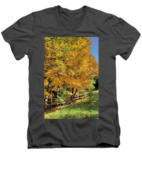 Men's V-Neck T-Shirt featuring the photograph Golden Fenceline by Gordon Elwell