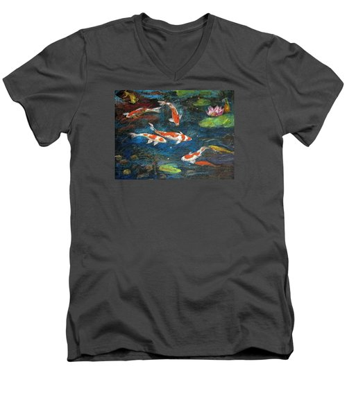 Men's V-Neck T-Shirt featuring the painting Golden Fish by Jieming Wang