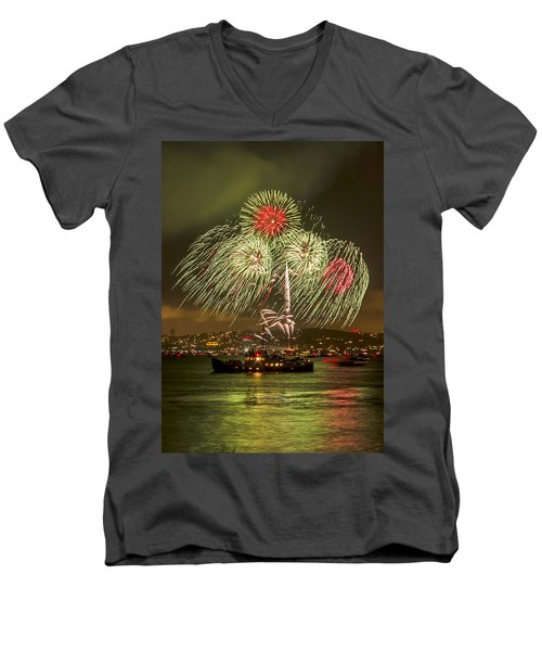 Golden Gate Bridge 75th Anniversary Fireworks 17 Men's V-Neck T-Shirt