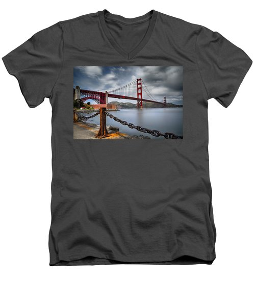 Golden Gate Bridge Men's V-Neck T-Shirt by Eduard Moldoveanu